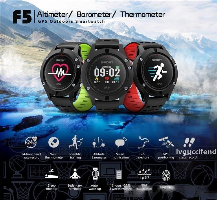 F5 SmartWatch водонепроницаемый GPS смарт-часы цветной экран Bluetooth смарт давления браслет крови сердечного ритма Наручные часы 30m Водонепроницаемый Retail