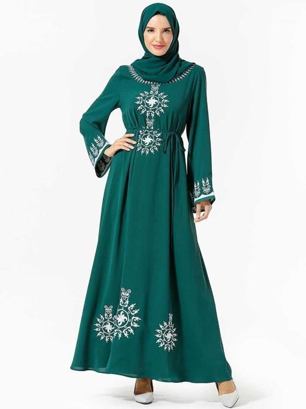 Modest Fashion Embroidery Islamique Abaya Dubai Clothes For Women Muslim Vestidos Party No Headscarf1