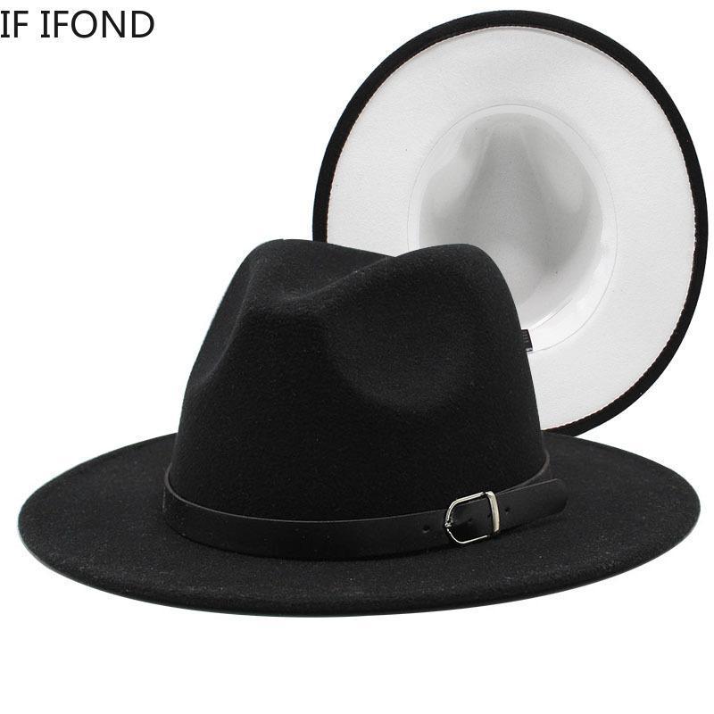 واسعة بريم القبعات 2021 56-58 سنتيمتر أسود أبيض المرقعة فيدورا المرأة أنيقة حزب الجاز قبعة الرجال خمر مقامر قبعة