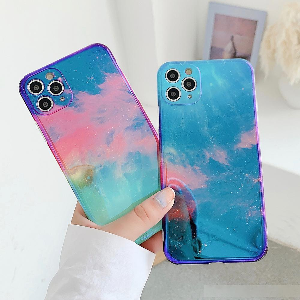 Retro Starry Sky Blu-ray Phone Case For iPhone 11 Pro Max XR XS Max 7 8 Plus X Full Body Soft IMD Glitter Back Cover