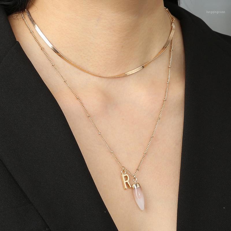 Collana di pendente in pietra naturale in pietra naturale europea e americana della collana creativa della collana piana della collana piana