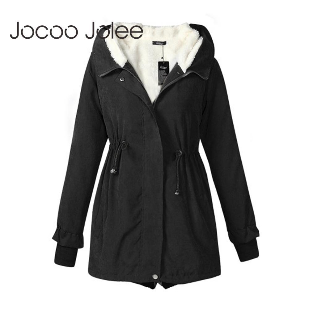 Joloo jolee inverno parkas mulheres com capuz de algodão quente casaco quente feminino meados de casacos wadded plus tamanho 3xl outwear sobretudo 201026
