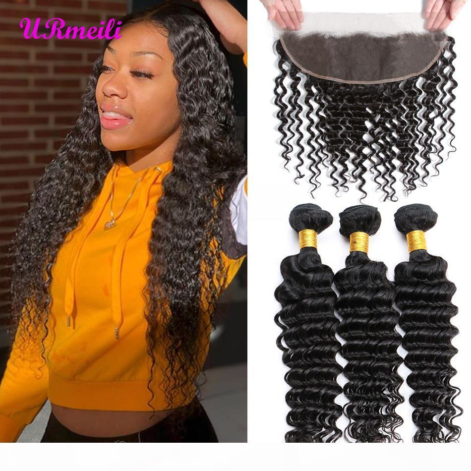 Brasili Brasiliani Deep Curly Human Hums Bundles con chiusura frontale Virgin Human Detensione dei capelli DHgate Wave profondo Chiusura frontale con 3 4 fasci
