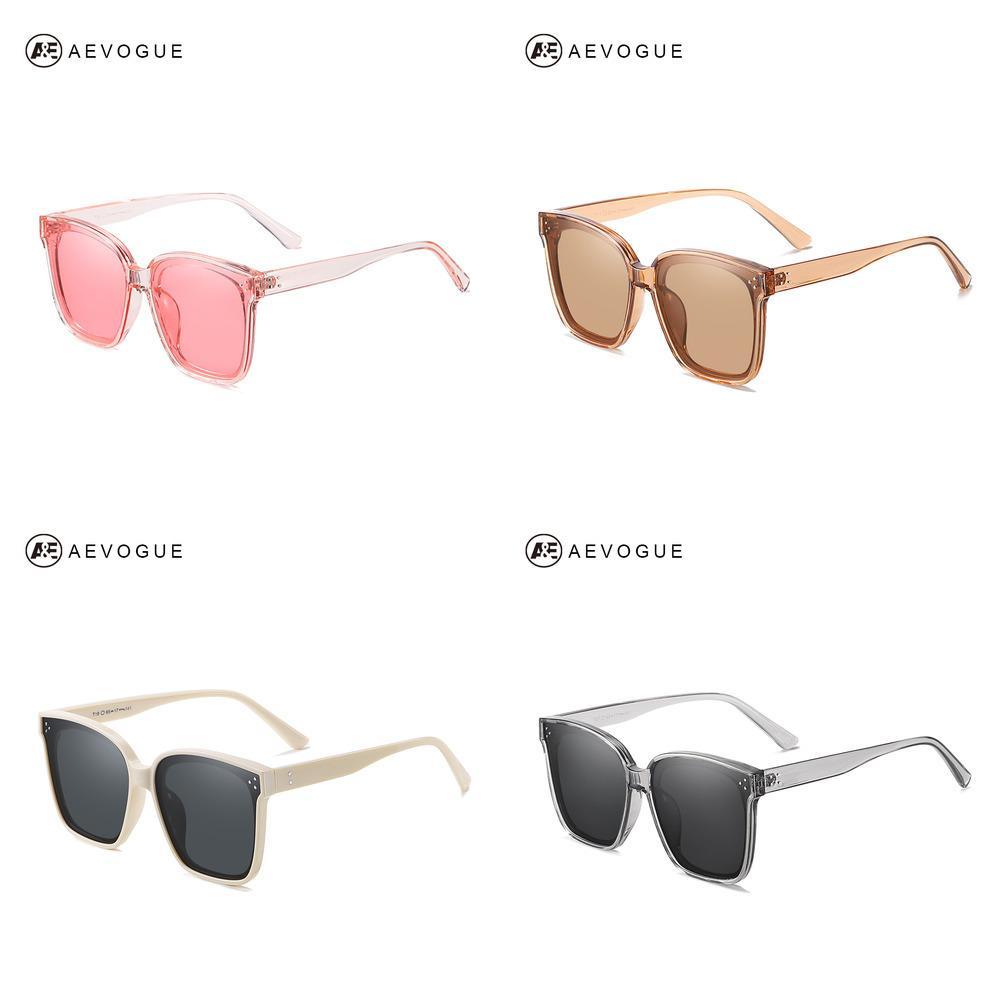 AEVOGUE New Women Fashion Polarized Sunglasses Transparent Square Retro Outdoor Sun Glasses Vintage Oculos Unisex UV400 AE0849 J1211