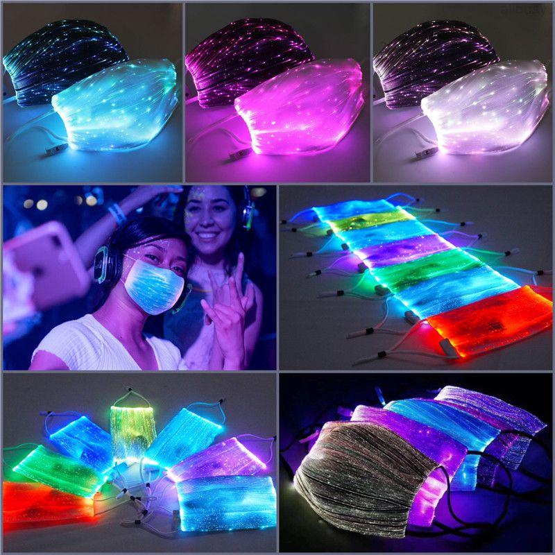 Mudança LED colorido luminoso 7colors máscara livre com segurança pm2.5 filtro brilhante led face máscaras festa máscara para o festival de halloween do Natal