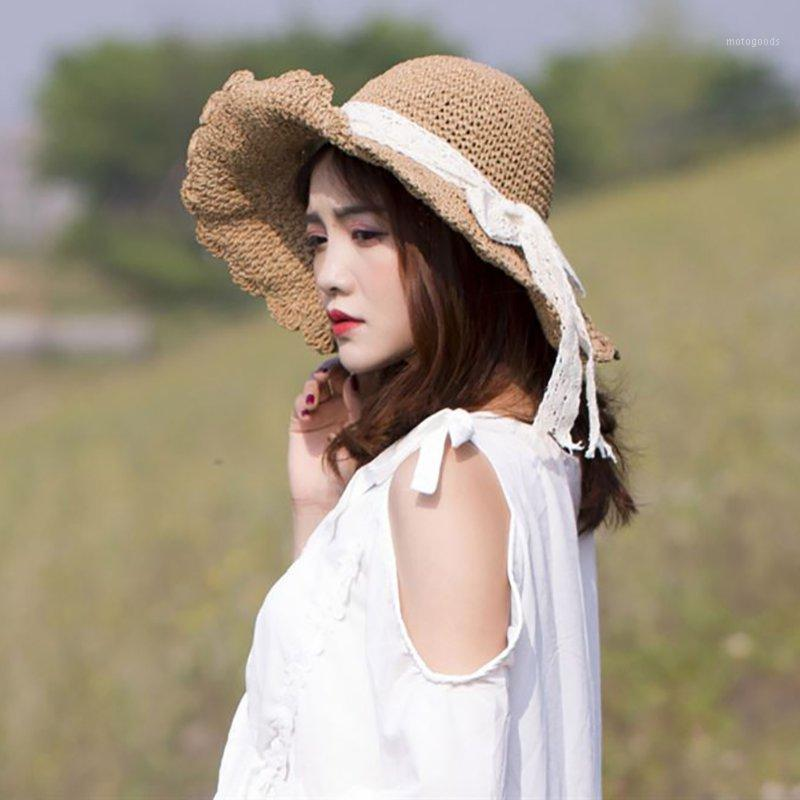 Wide Brim Hats Lace Bow Summer Hat 2021 Sun Protection Straw For Women Beach Cap Panama Girls Leisure Women1