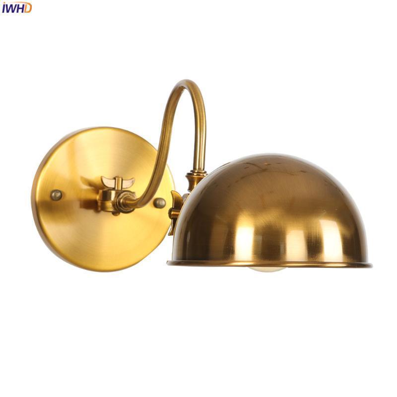 Iwwhd Регулируемая золотая рука светодиодный настенные огни для домашнего освещения ванной комната спальня промышленные старинные настенные лампы Sconces Lampara Pared