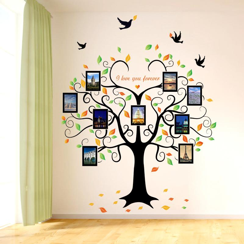 Grande 160 * 204cm Árbol Familiar en forma de corazón Marco de la foto Etiqueta engomada de la pared Love You Forever Bird Thomals Mural Art Decor Decoración removible Y1120