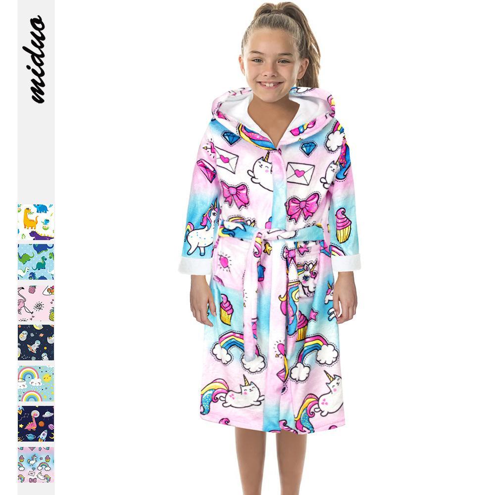 7colour S-L 여자의 캐주얼 유니콘 디지털 인쇄 양면 플란넬 어린이 긴팔 겨울 따뜻한 잠옷 목욕 가운 28632490779602