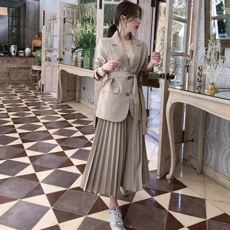 Spring And Autumn Elegant Women's Office Suit Korean Style Business 2 Piece Set Blazer Jacket Temperament Pleated Skirt Suit1 Two Dress