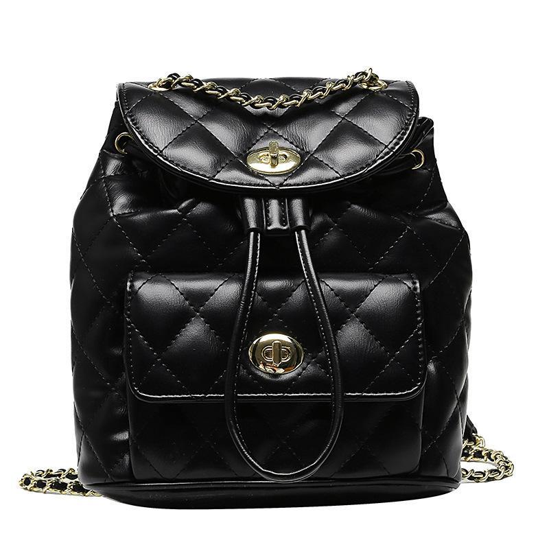 Fashion Casual Mini Diamond Lattice Chain Backpack Women Multifunction Soft Leather High Quality Bag Shopping Travel Daypack Q1113