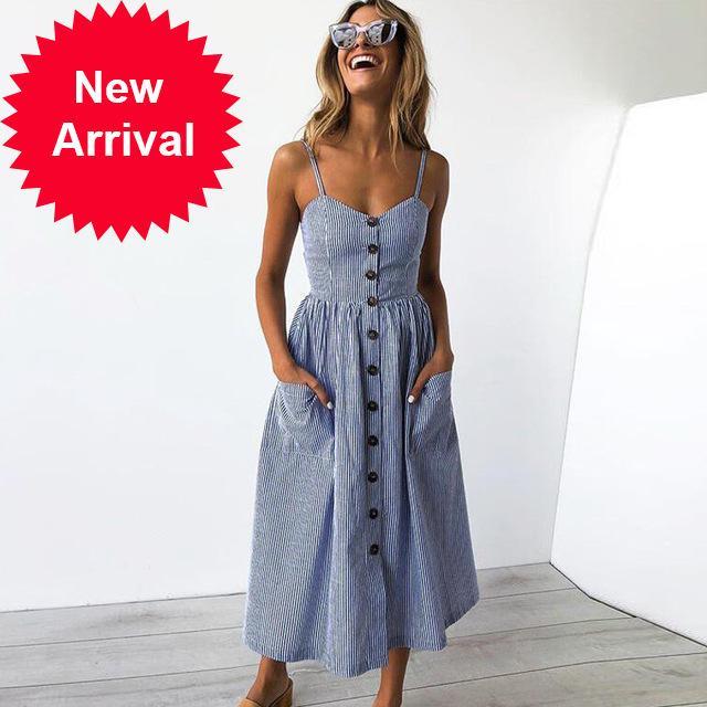 Mulheres Botão Decorado impressão Dress Off-Ombro Festa Praia Sundress Boho Espaguete Longo Vestidos Plus Size Summer Armedeo