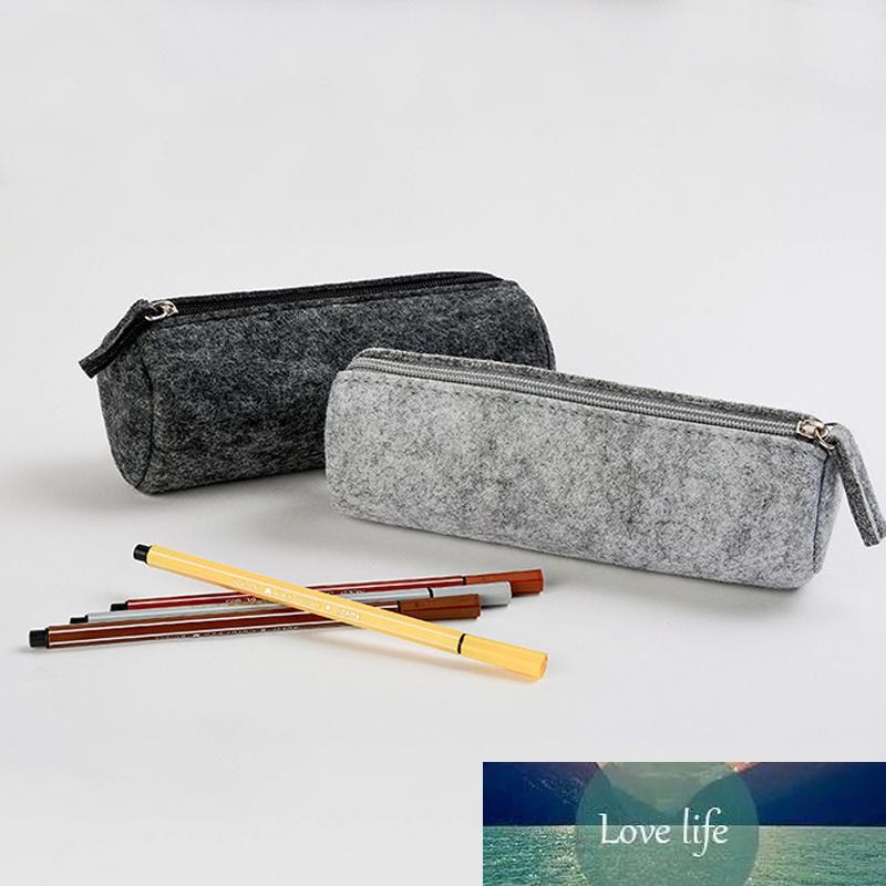 1pc New Cosmetic Bag Felt Gray Makeup Brush Pouch Pure Color Storage Bag Home Organization