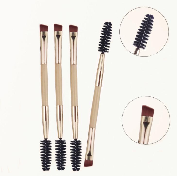 Pro Eye Lash Brow Brush Brush Cosmetic Trucco Beauty Tools Eyelash Sopracciglio Manico Bamboo Doppia testa