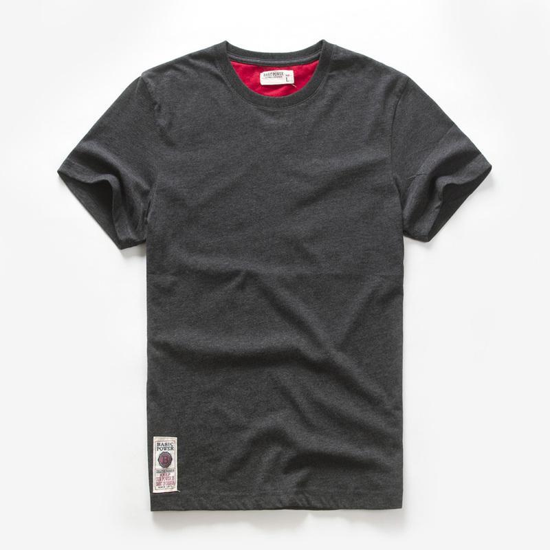 Herren T-Shirt Baumwolle Solid T-Shirt Männer Kausal Oansatz Basic Tshirt Männliche Hohe Qualität Klassische Tops Soft T-Shirt Größe: M-3XL