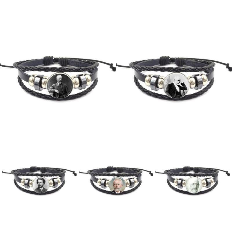 EJ Glaze pour Hommes Femmes Peter Ilyich Tchaïkovsky Bracelet en cuir noir Bracelet Bijoux Fête Festival Bijoux