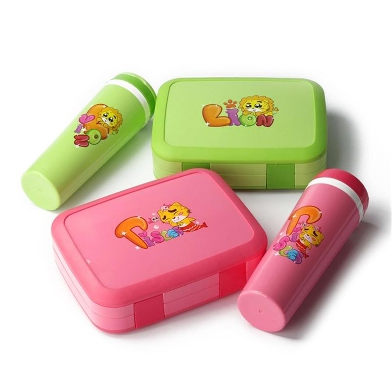 TUUTH Cartoon Lunch Box Microwave Leakproof BPA Free Lunch Box Set for Kid Children Student Portable Bento Box Set with Bottle 201210
