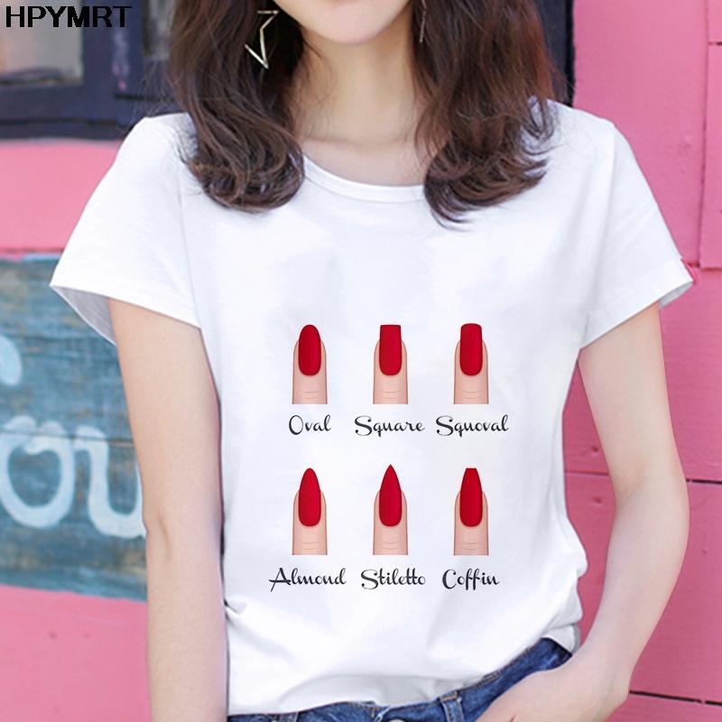 Ocasional de la camisa arte de la moda de la personalidad de uñas divertido estampado de manga corta del nuevo del verano t camiseta tops femeninos Harajuku del cortocircuito de las mujeres