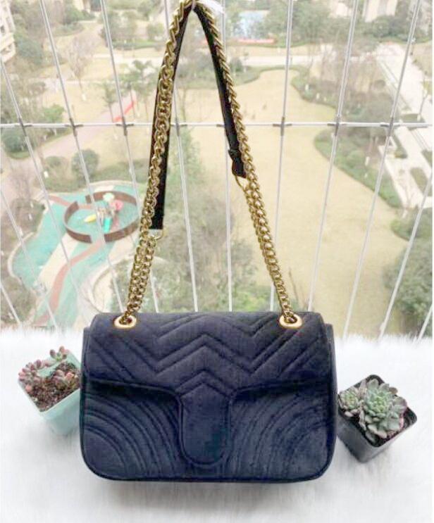 Frauen Umhängetaschen Klassische Samt Handtasche Goldkette Herz Stil Mode Frau Tote Messenger Top Qualität R1732 # EH
