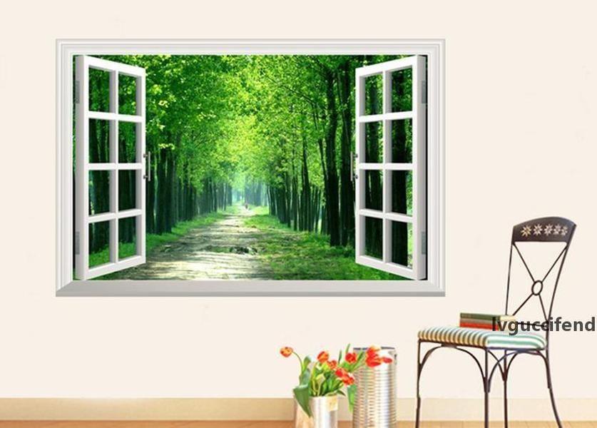 Paisaje estéreo 3D Etiquetas engomadas de Windows Falsos Vista Ventana Vista de la pared Decalación Sunshine Etiquetas de Pared Forestal Ruta de la pared Arte de la pared Salón de la habitación Dormitorio