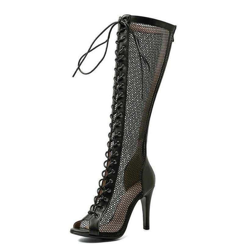 Sandalias Fashion Comfort Malla aérea Mujeres Sexy Tacones delgados Alta Calidad Encaje Up Summer Shoes Party Casual Open Toe Tamaño 43