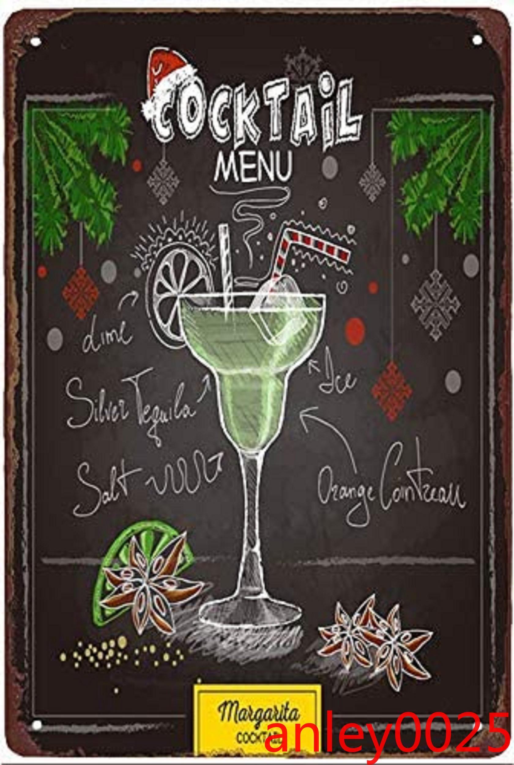 Bar Segni di latta, Blu Hawaii Cocktail Metal Segno Vintage Pub Decorazione da parete per Bar Pub Club Man Cave Retro Metallo Poster Pittura in ferro