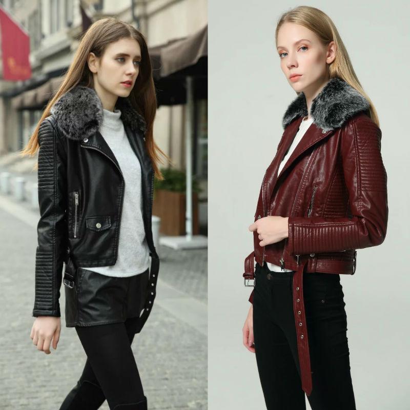 2020 Mode chaud Femmes hiver Vestes en similicuir chaud avec collier de fourrure Beltonnette Lady Noir Rose Moto motard Manteaux