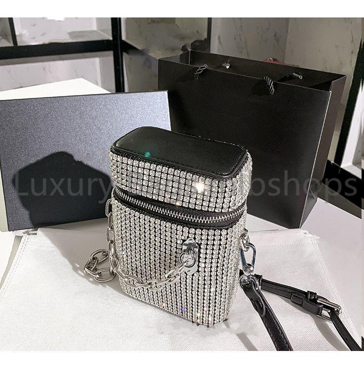 أعلى جودة مصمم المرأة الكريستال الماس حقائب 2021 الخرز المعدني حقائب الكتف بريق الماس سيدة سلاسل حقيبة crossbody حقيبة دلو