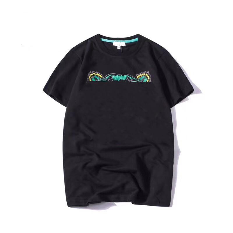 19SS Yaz T Gömlek Hayvan Kafa Mektupları Nakış Erkekler Tee Gömlek Moda Kısa Kollu Kadın Tshirt Streetwear S-2XL