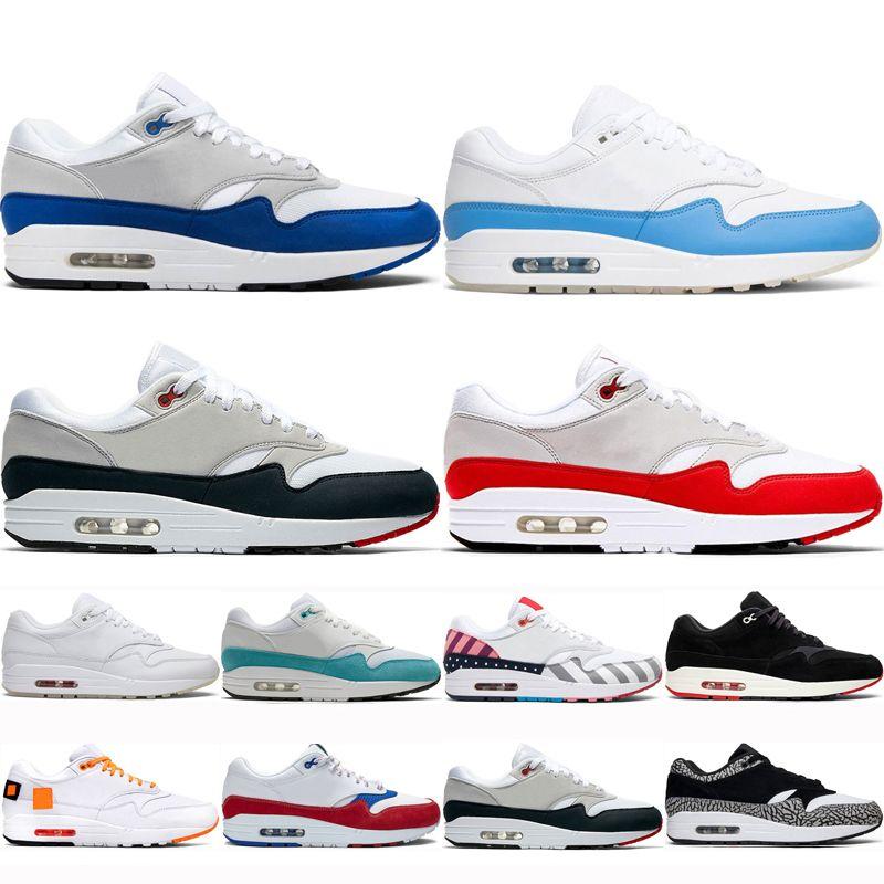 air max 1 Nueva llegada de un zapato 87 aniversario azul real parra Hombres Mujeres zapatos para correr universidad clásica Atómica azul del trullo lAthletic Zapatos