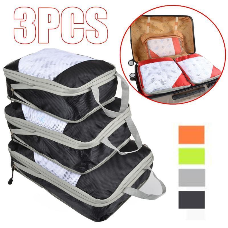 3pcs / Set Borsa di compressione Borsa da viaggio Borsa da viaggio Valigia Deposito bagagli Organizzatore Set Appeso Imballaggio Imballaggio Cubetti Sacchetti di compressione