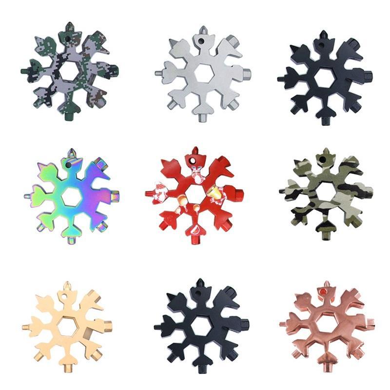 18 in 1 Snowflake Spanner 다기능 오프너 타이얼 하이킹 렌치 휴대용 오프너 키 링 포켓 다목적 야외 캠프 핸드 도구 BWA2456