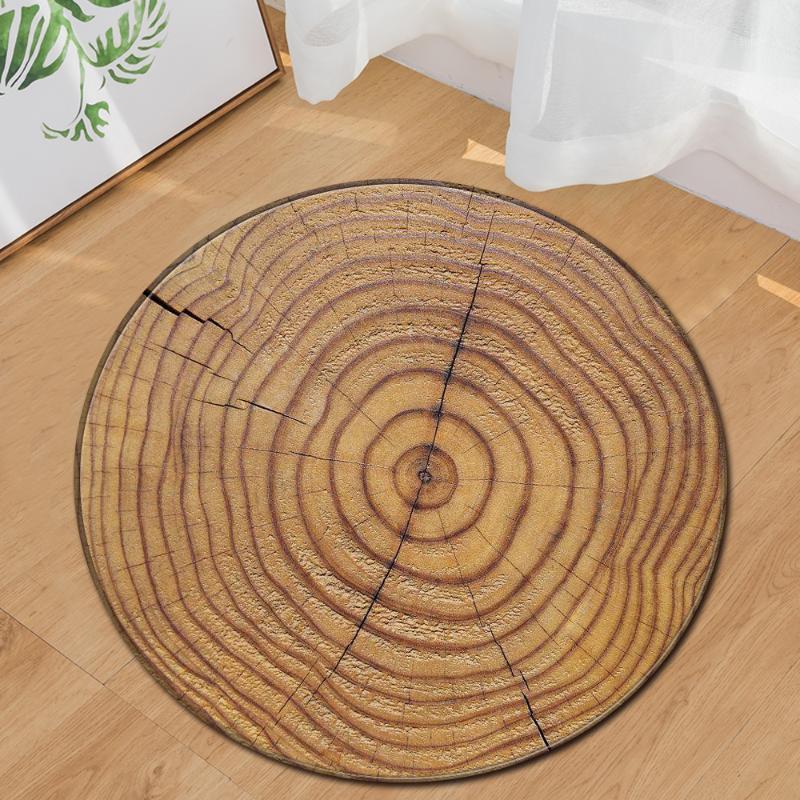Estilo Nórdico Cadeira de Cadeira 3D Madeira Rodada Tapete Macio Caçador de Quarto Área Tapetes Flannel Anti-Slip Beedside Tapetes para sala de estar1
