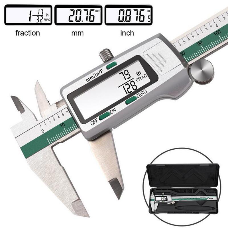 الفولاذ المقاوم للصدأ عرض الرقمية الفرجار 150 ملليمتر الكسر / مم / بوصة عالية الدقة الفولاذ المقاوم للصدأ lcd vernier الفرجار أداة قياس T200602