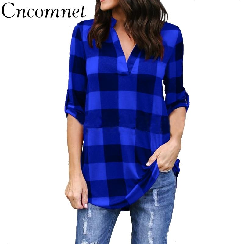 Big Yard Sping Autumn Plaid Printed Tops Women Sexy Casual Loose Blouses Large Size Female Outerwear Ladies Shirt 201201