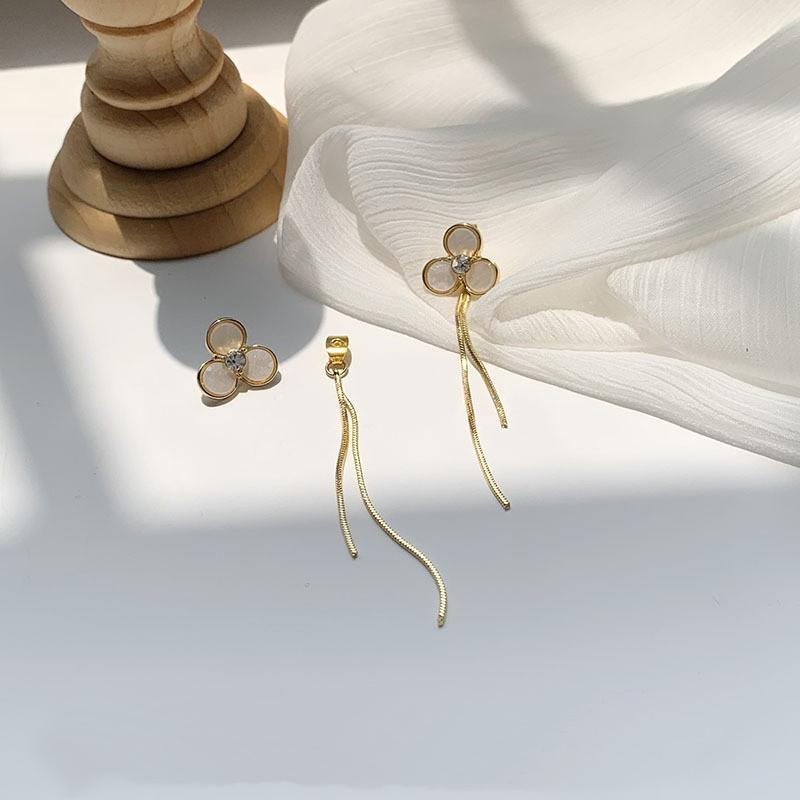 Новое поступление модный милый сладкий белый раковины цветок длинные кисточки капля серьги для женщин элегантные роскошные украшения подарки