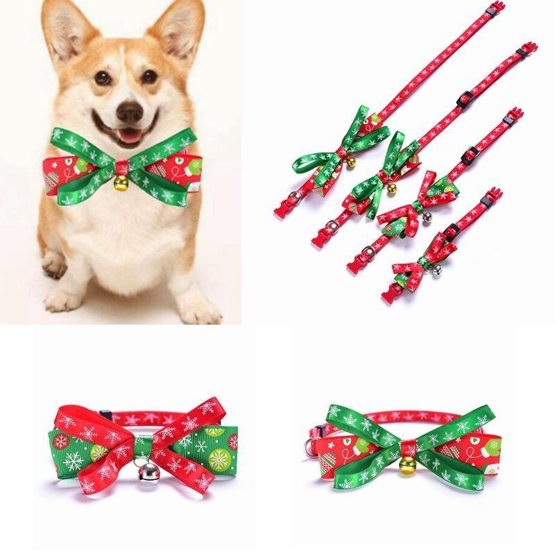 Weihnachten Haustier Bogen Krawatten mit Bell Nette Hunde Katze Krawatte Weihnachten Haustier Krawatte Dekoration Zubehör Einstellbar