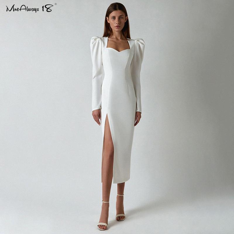 Mnealways18 élégant robe mai-mai mai-mai femme blanche haute robe fendue sexy manches feuilletées automne hiver soirée robes dames