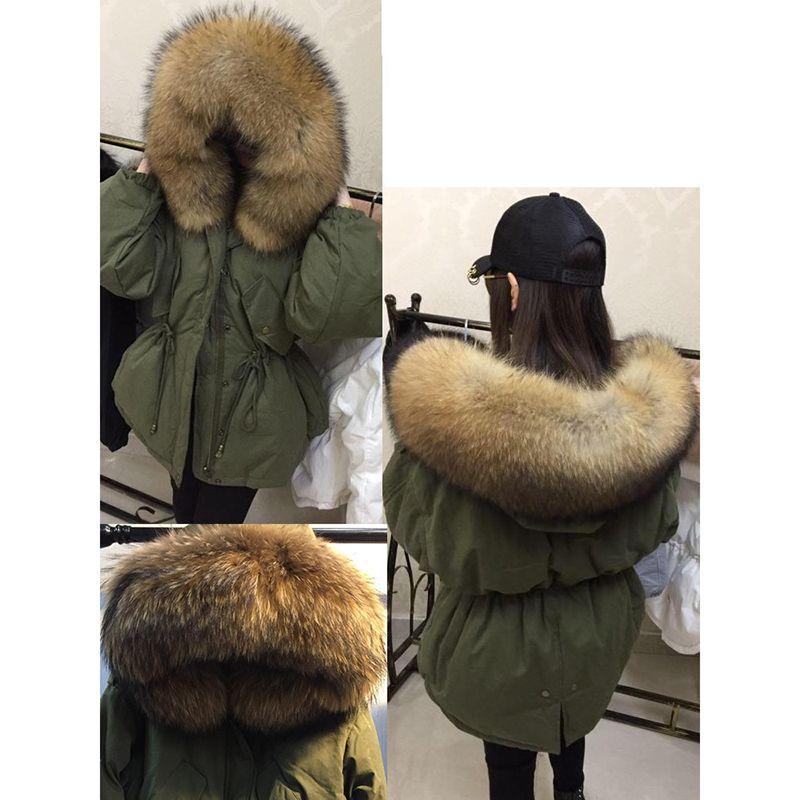 Kış Kadın Sıcak Aşağı Ceket Ile Büyük 100% Gerçek Doğal Rakun Kürk Yaka Hood Dış Giyim Kalın Ceket Kadın Ördek Aşağı Palto C1204
