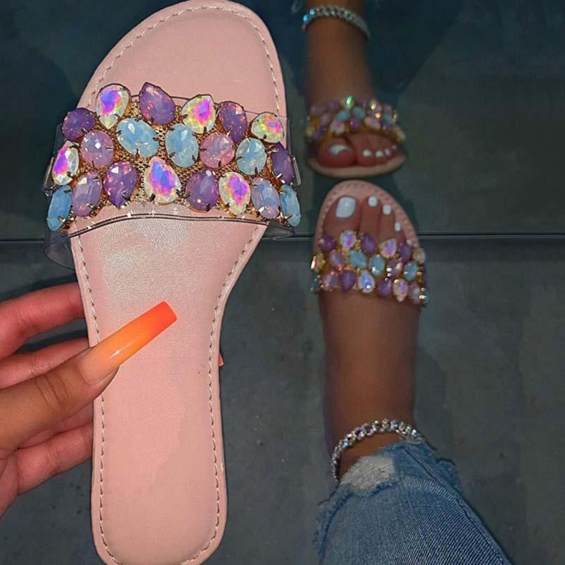 Mujeres Sandalias Sandalias de verano Zapatos de cristal colorido Zapatos de mujer Pisos casuales Ladies Fashion Bling antideslizante Home Playa Calzado