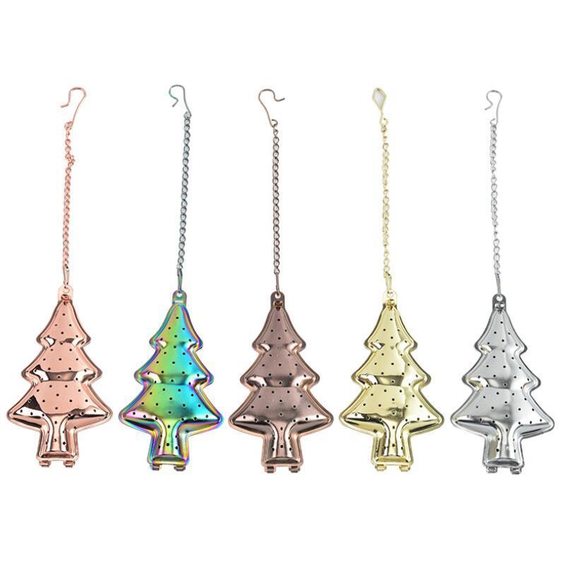 مصفاة الشاي الملونة 304 الفولاذ المقاوم للصدأ الشاي infuser هدية شجرة عيد الميلاد الشاي مصفاة infuser أدوات المطبخ EWB3418