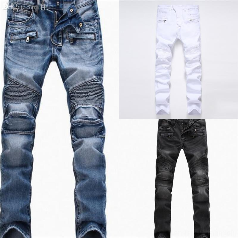DDb2N Autumn New Knee Hole Jeans Male Tide high quality Brand Hip Hop Cat Whisker Patch Pant Fashion Man man jeans bikerwork Patch