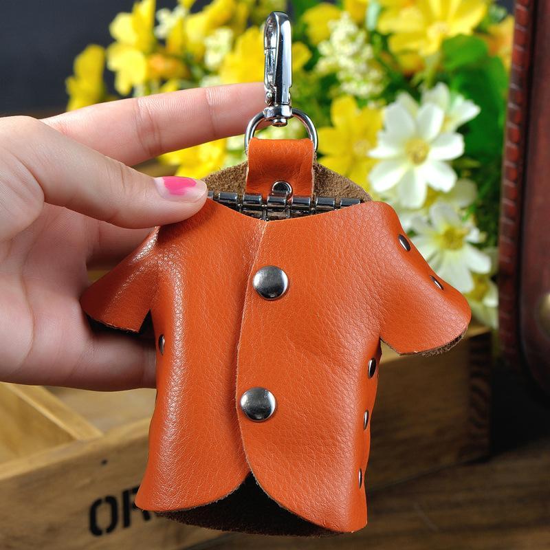 Nuevo bolso de llavero femenino Creativo Versión coreana de ropa Estilo femenino Mujer Genuina Cowhid Clave Bolsa Durable Almacenamiento de cadena salvaje