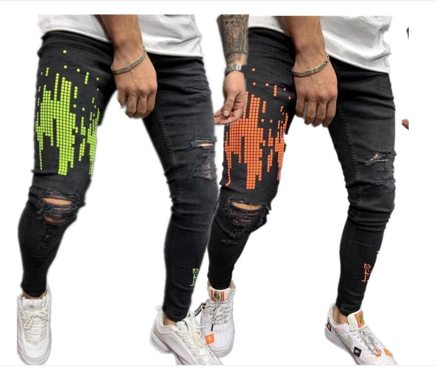 Cross fronteira Europa e os Estados Unidos desejo jeans masculinos furo leggings apertado preto laranja impressão masculina jeans tendência