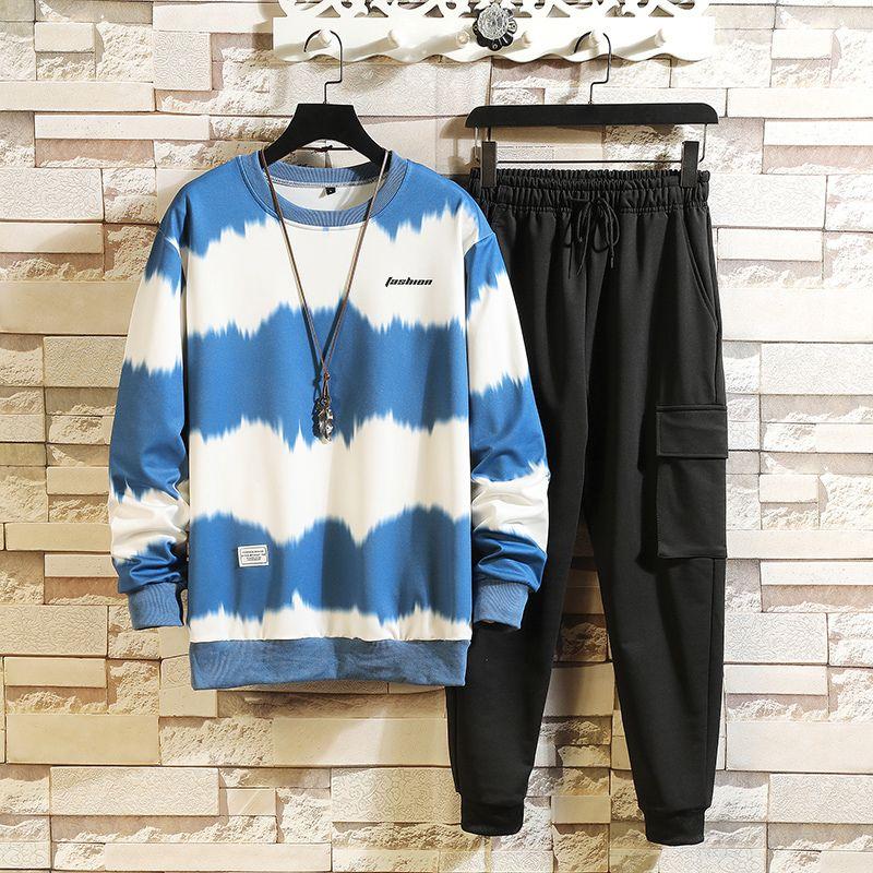 Striped Black Blue Mens Sportswear Sportswear 2021 Осенняя Весна Случайный трексуит Толстовка + спортивные штаны