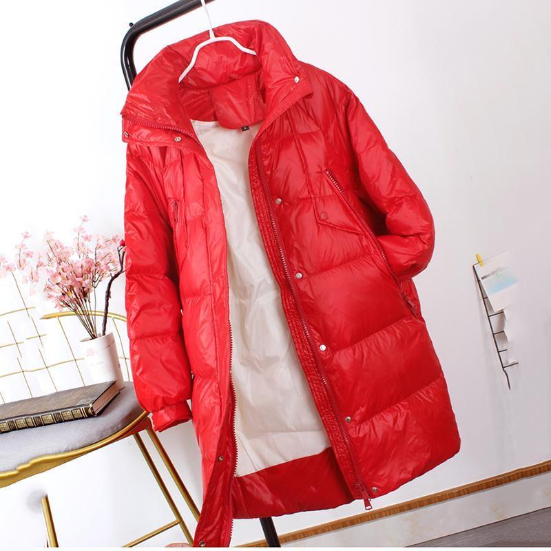 Mode d'hiver Femmes lâches Down Veste 2020 Neuf Duck Blanc Down Longueur Moyenne Longueur Solide Veste Femme Vernie Vêtements de vente JK259
