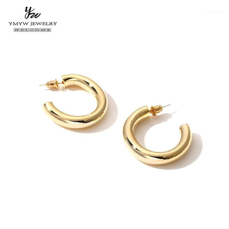YMYW Charm in metallo anello orecchio semplice geometrico orecchini a cerchio cavo per le donne partito regalo gioielli BOUCLE D'OREILLE FEMME 20201