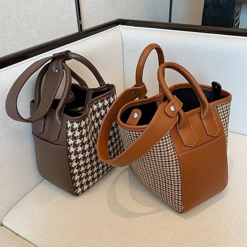 Мода кожаное ведро мешок PU 2020 новая высокая сумка Houndstooth дизайнер женские мессенджеры проездной сумка сумка для качества RCIXF