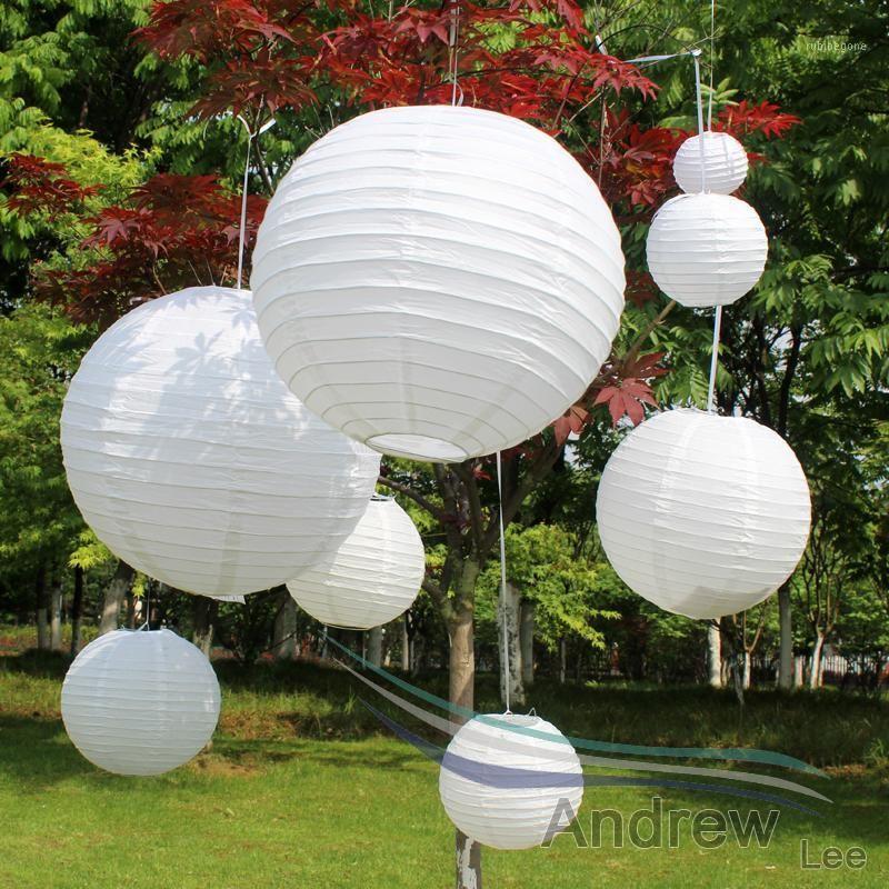 10 шт. 6-8-10-12-14-16 дюймовый японский стиль круглая белая бумага фонари фонари ламма шарика DIY шаблон для свадебного фестиваля партии украшения1