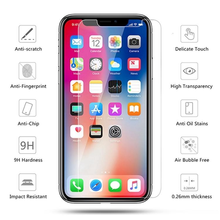 Film Glass Commercio all'ingrosso per telefono SE temperato 2020 11 Pro X XR XS Max Clear Screen Protector 2.5D 9h Protettivo con vendita al dettaglio
